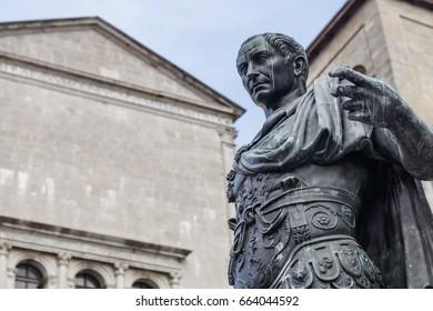 Bronze statue of Julius Caesar wearing martial gear