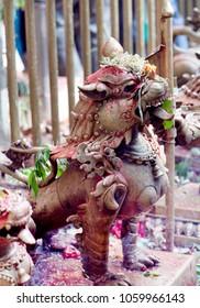 Bronze statue of lion at Dakshinkali Hindu Temple in Pharping, Nepal