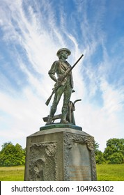 Bronze statue of a Minuteman in Concord, MA. It was sculpted by Daniel Chester French from melted down Civil War cannons. I