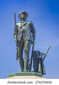 Bronze statue of a Minuteman in Concord, MA. It was sculpted by Daniel Chester French from melted down Civil War cannons.