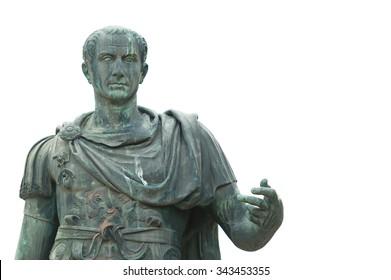 Bronze statue near the Roman Forum emperor Julius Caesar