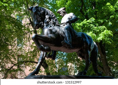 Bronze Statue of Paul Revere at Freedom Trail in front of the Old North Church, North End, James Rego Square, Hanover Street, Boston, MA