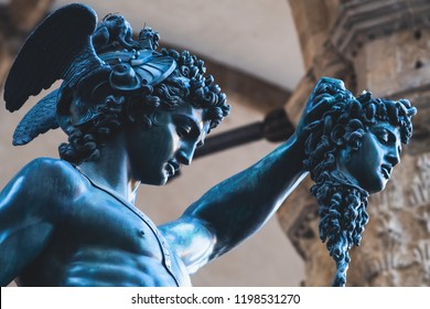 Bronze statue of Perseus holding the head of Medusa in Florence, Piazza della Signoria square, made by Benvenuto Cellini in 1545
