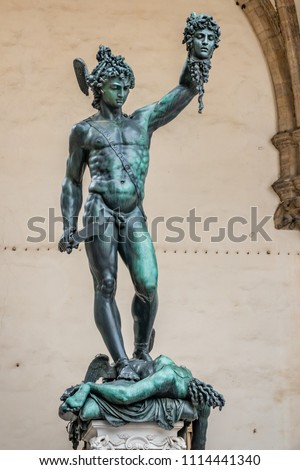 The bronze statue of Perseus holding the head of Medusa, in Florence, Italy.  was created in the 1500s by Benvenuto Cellini.