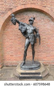 A bronze statue of Perseus slaying Medusa, in Eton