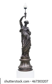 bronze statue Roman woman holding a torch, Lady Lamp, Isolated on white background.