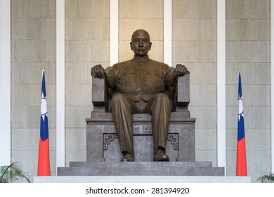 Bronze statue of Sun Yat-Sen emplaced in the Memorial Hall in Taipei, Taiwan. Sun was a revolutionary and political leader. As Sun is Founding Father of Republican China.