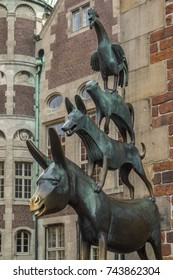 The bronze statue of the Town Musicians of Bremen in the city of Bremen in Germany. Erected in 1953, it shows the characters in a fairy tale by the Brothers Grimm.