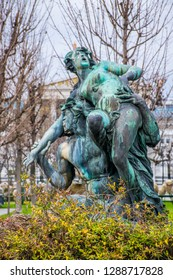 The bronze statue in Volksgarten park in Vienna. Winter in Austria, Europe.