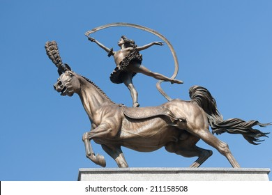 Bronze Statue of woman on a horse near Minsk Circus, Belarus