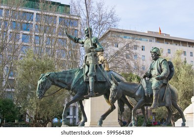 Bronze statues of Don Quixote and Sancho Panza in Madrid, Spain