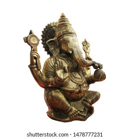 Bronze statuette of the Indian god Ganesha with the head of an elephant. Statue isolated on a white background.