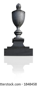 Bronze tombstone with eternal flame isolated on white background. Design element with clipping path