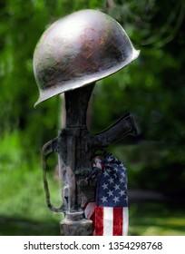 Bronze War Memorial of Rifle, Army Helmet and American Flag