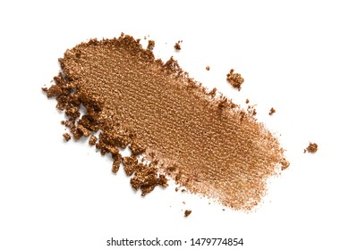 Bronzer or eyeshadow swatch. Crashed brown shimmer face powder texture. Nude eye shadow smudge isolated on white background