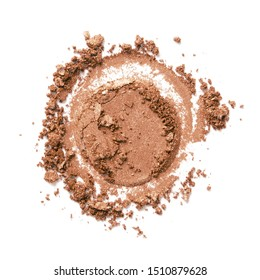 Bronzer or eyeshadow swatch. Crashed brown color shimmer face powder texture. Nude eye shadow smudge isolated on white background