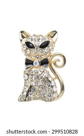 brooch cat isolated on white