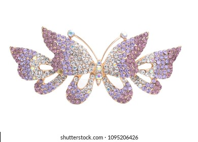 Brooch golden butterfly with diamonds isolated on white