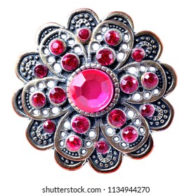 Brooch - richly decorated, red artificial stones - isolated on white background