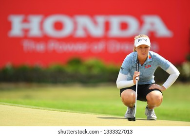 Brooke M. Henderson of Canada in action during the Honda LPGA Thailand 2019 Round 3 at Siam Country Club, Old Course on February 23, 2019 in Chonburi, Thailand.