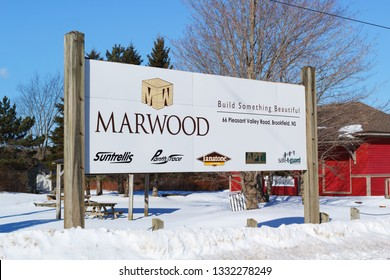 Brookfield, Canada - March 07, 2019: Marwood company sign. Marwood Ltd. is a Canadian wood pressure treatment company supplying various wood products.