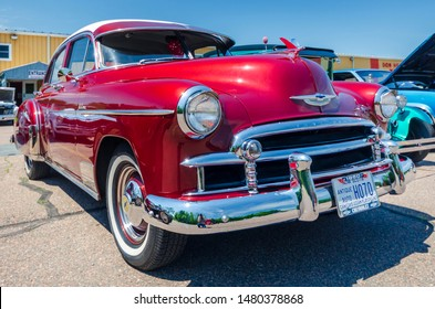 Brookfield, Nova Scotia, Canada - July 20, 2019 : 1950 Chevy Deluxe 4 door sedan at Brookfield Homecoming Classic Car Cruise In