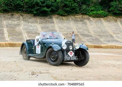 BROOKLANDS, ENGLAND - JULY 14, 2017: A 1938 British Morgan 4-4 Series 1 competes on the 2017 RAC 1000 Mile Trial Rally for Pre War cars organised by the Historic Endurance Rallying Organisation