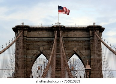 Brooklyn Bridge with American Flag