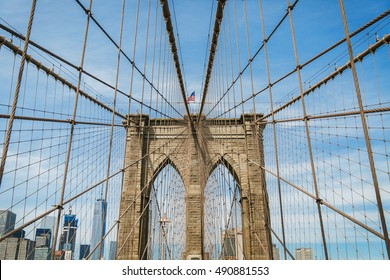 Brooklyn Bridge arch and cable.