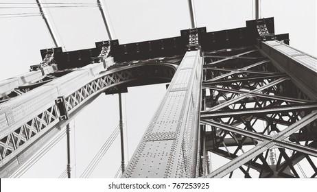 Brooklyn Bridge in Black & White - Looking Upwards Perspective