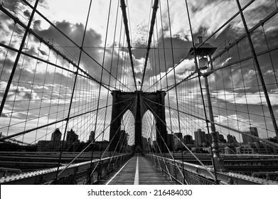 Brooklyn bridge, black and white, New York, USA