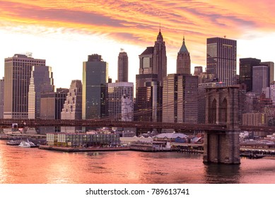 Brooklyn bridge and building in New York city America with Sunset sky