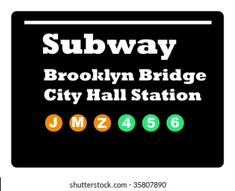 Brooklyn Bridge City Hall Station subway train sign isolated on black background.