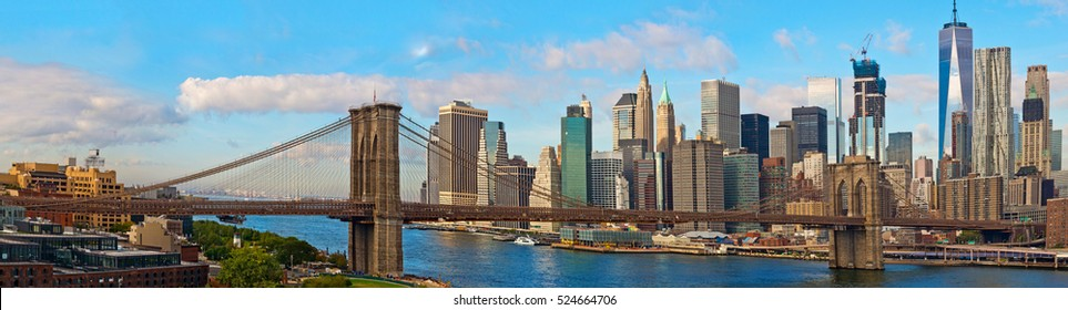 Brooklyn Bridge and Cityscape of New York. Panoramic view