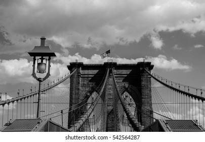 Brooklyn bridge with cloudy sky in black and white style, New York