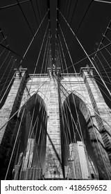 Brooklyn bridge deatil monochrome