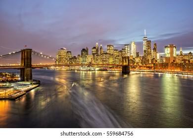 Brooklyn Bridge and Downtown Manhattan at Night
