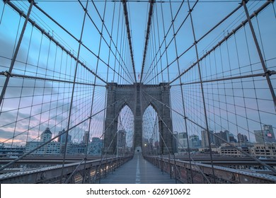 Brooklyn bridge during sunrise