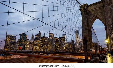 The Brooklyn bridge at dusk with downtown Manhattan, New York City. USA.