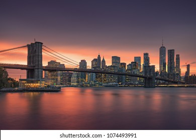 Brooklyn bridge at dusk, New York City. USA - State New York. Postcard view to the big apple