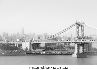 Brooklyn bridge and empire state building in New York.