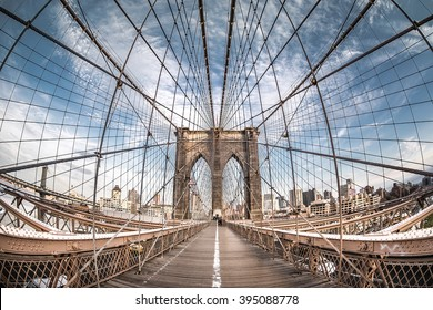 Brooklyn bridge from a fish eye perspective, New York City