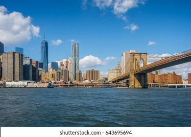 Brooklyn bridge leading to the center of Manhattan New York