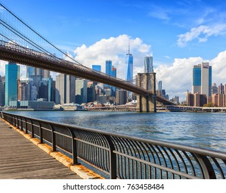 The Brooklyn Bridge with Lower Manhattan in the background at  the day-time, New York City, United States.