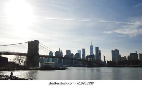 Brooklyn Bridge and Lower Manhattan Skyline from DUMBO