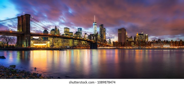 Brooklyn bridge and Manhattan after sunset, New York City