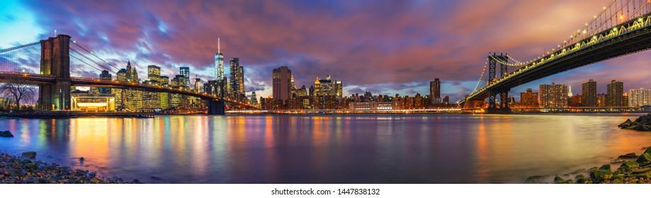 Brooklyn bridge and Manhattan bridge after sunset, New York City