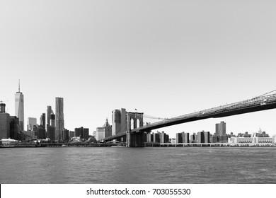 Brooklyn Bridge with Manhattan background.