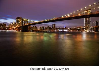 Brooklyn bridge and Manhattan night view
