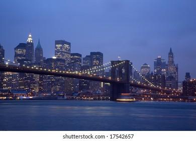 Brooklyn Bridge and Manhattan skyline At Night 2008